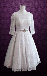 Retro Tea Length Lace Wedding Christina Dress