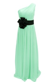One-shoulder Pleated Chiffon A-line Gown With Floral Band