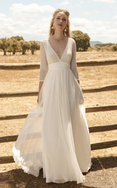 Chiffon 3/4 Sleeve Ethereal Plunging Wedding Dress With Lace Top And Deep V-back