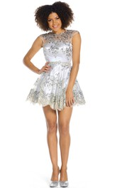 Short A-Line Sleeveless Scoop Neck Beaded Organza Prom Dress With Keyhole