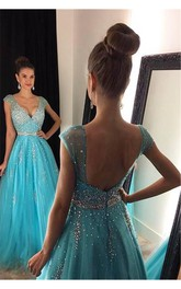 Elegant V-Neck Beadings Prom Dresses 2018 Long A-Line Tulle