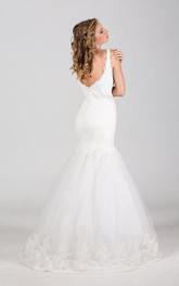 Square Neck Sleeveless Mermaid Lace Wedding Dress With Lace Hemline