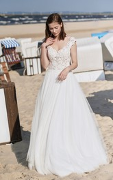 Adorable Cap Sleeve Ball Gown Wedding Dress With Deep V Back