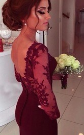 Sweetheart Long Sleeve Satin Prom Dresses With Lace Appliques