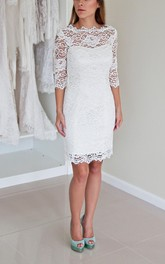 Illusion Neckline Long Sleeve Short Lace Wedding Dress With V Back