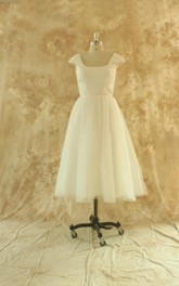 Tea-Length Cap Sleeve Tulle Satin Dress