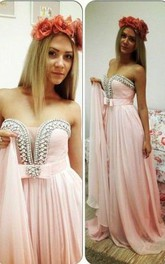 Romantic Pink Chiffon Beadings Prom Dress 2018 Sweep Train Bowknot