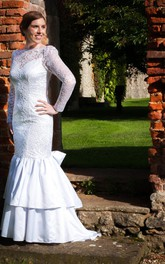 Bateau Neck Long Sleeve Lace Wedding Dress With Satin Skirt