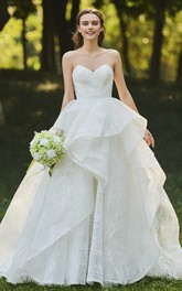 Lace Open Back Sweetheart Cascading Ruffles Sleeveless Bridal Ball Gown