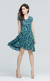 Printed Cap Sleeve A-Line Midi Dress