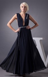 Plunged Caped-Sleeve Chiffon Maxi Dress with Gemmed Waist
