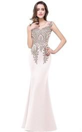 Mermaid Sleeveless Lace Appliques Satin Long Dress