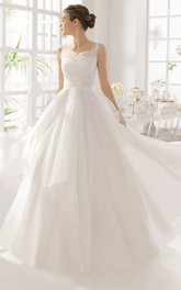 A-Line Sleeveless Floor-Length Spaghetti Lace Wedding Dress With Flower And Pleats