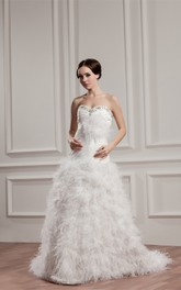 Sweetheart Ruched A-Line Dress with Beading and Fluffy Skirt