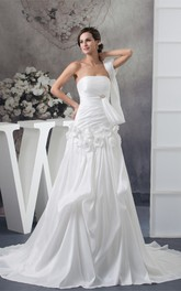 Strapless Pick-Up A-Line Gown with Flower and Broach