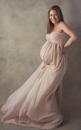 Simple A-line Sweetheart Sleeveless Chiffon Lace Maternity Dress