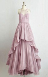 Floor-length Halter Sleeveless Chiffon Tiers Dress