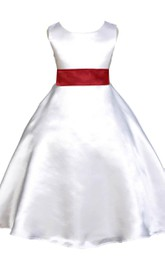 Elegant Sleeveless A-line Satin Dress With Bow