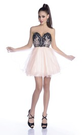 Sweetheart A-line Tulle Short Dress With Sequined Flowers