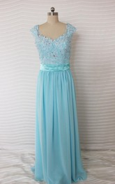 Backless Cap-sleeve Chiffon Dress With Appliques