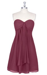 Sweetheart Chiffon Sleeveless A-Line Dress With Front Draping