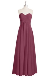Strapless Sweetheart A-Line Chiffon Dress With Ruching and Pleats