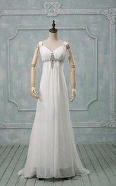 Straps Lace-Up Back Chiffon Wedding Dress With Crystal Detailing And Ruching