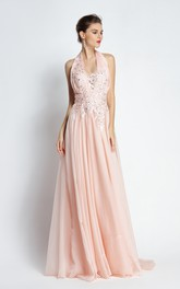 A-Line Halter Sleeveless Floor-length Sweep Brush Train Chiffon Prom Dress with Open Back and Beading