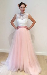 Bateau Sleeveless A-Line Tulle Wedding Dress With Lace Top