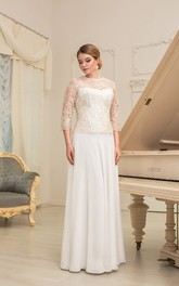 A-Line Floor-Length Jewel-Neck Illusion-Sleeve Zipper Chiffon Dress With Pleatings