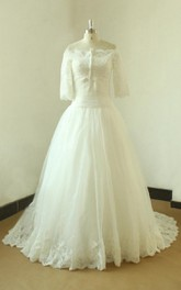Ivory Modest Vintage Lace Wedding With Removable Bolero Dress