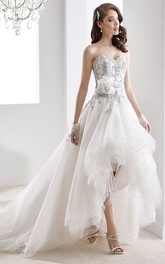Sweetheart High-Low Beaded Gown With Ruffles And Floral Decoration