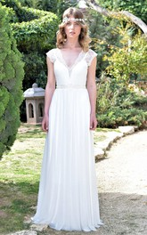 Deep-V-Neck Cap-Sleeve Chiffon Pleated Wedding Dress With Beaded Waist