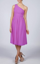 One-shoulder Cocktail Chiffon Bridesmaid Dress