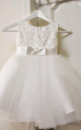 Beaded Sleeveless Jewel Tulle Ball Gown With Bow
