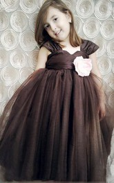 Satin Cap Sleeve Pleated Tulle Dress With Sash Ribbon