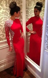 Glamorous Crystals Mermaid Jewel Evening Dress Red 2018 Long Sleeve