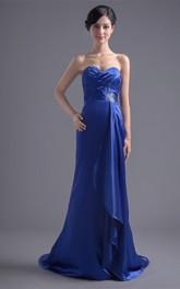 sweetheart sheath criss-cross dress with brush train and draping