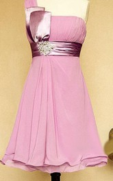 Knee-length One-shoulder Strapped Chiffon&Satin Dress With Beading&Sequins&Broach