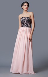 Fantastic Sleeveless Lace Appliqued Long Chiffon Dress With Pleats