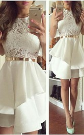 Newest Illusion Short White Cocktail Dress Lace Two Layer Ruffles