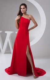 One-Shoulder Front-Split Sheath Dress with Brush Train