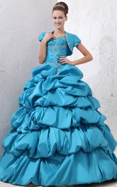 Sweetheart Sleeveless Princess Ball Gown With Crystal Detailing And Pick-Up Ruffles