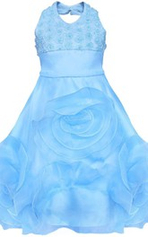 Sleeveless Haltered Appliqued Organza Dress With Flowers