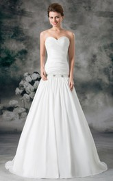 Sexy Strapless Sweetheart Ruffled Taffeta Gown With Crystals and Belt