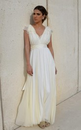 Plunged Cap-Sleeve Chiffon Tulle Ankle-Length Wedding Dress With Bow