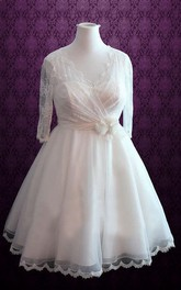 V-Neck Half Sleeve Short Wedding Dress With Lace Illusion Back