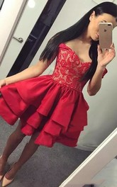 A-line Off-the-shoulder Sleeveless Ruching Ruffles Short Mini Taffeta Lace Homecoming Dress