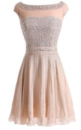 A-Line Princess Bateau Sleeveless Beading Short Mini Chiffon Dresses
