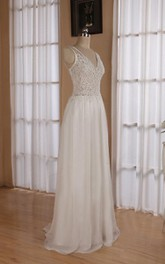 V-Neck Sleeveless Backless Floor-Length Chiffon Wedding Dress With Sequins